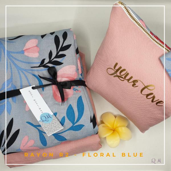 Telekung Rayon - Floral Blue - Qool Muslimah