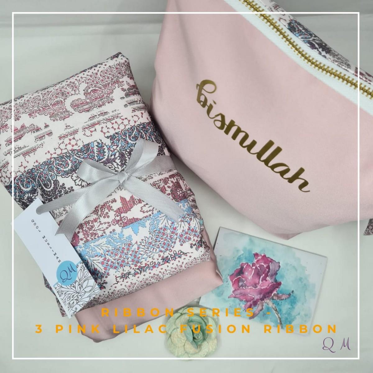 Telekung/Mukena Armani Silk Ribbon Series - Pink Lilac Fusion - Qool Muslimah