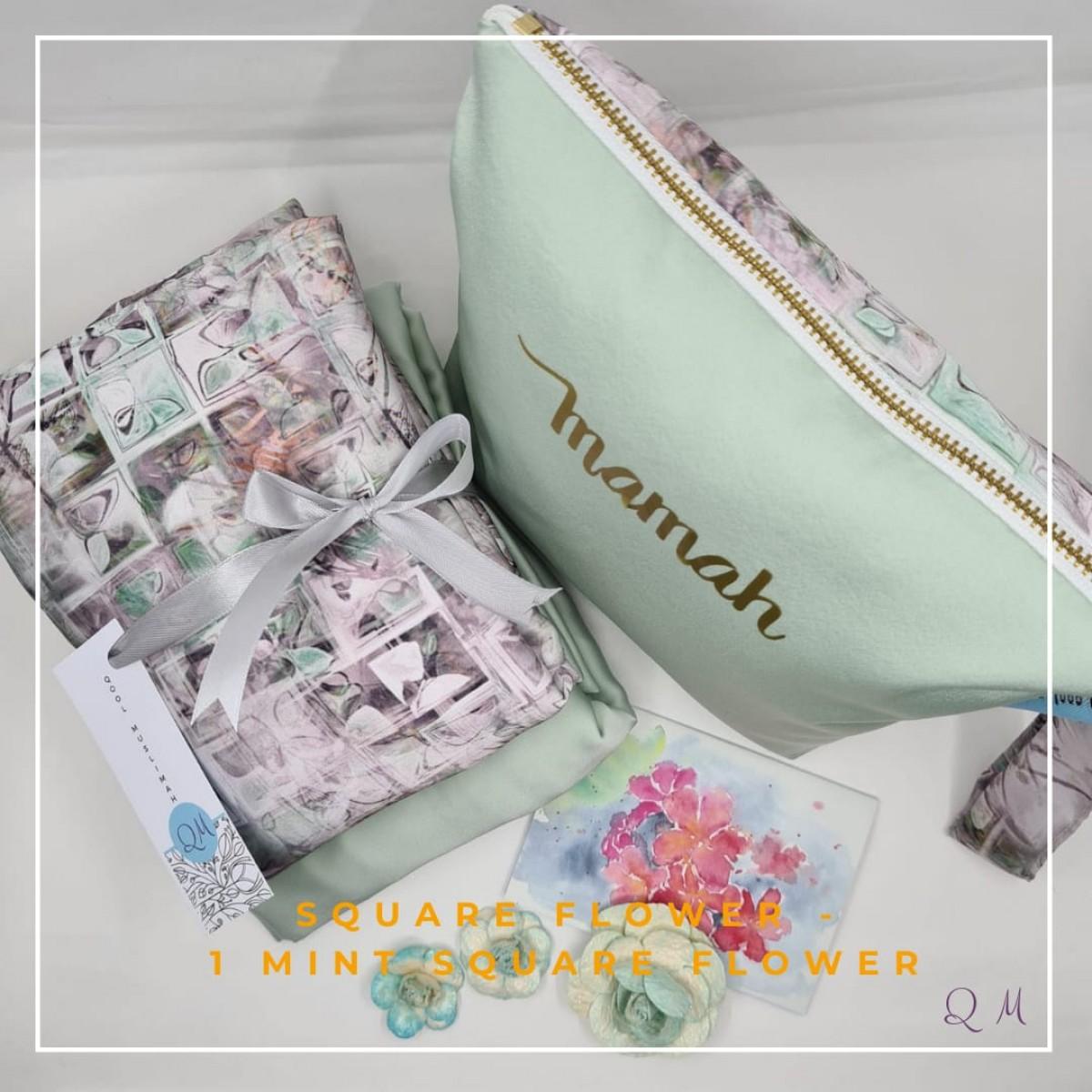 Telekung/Mukena Armani Silk Square Floral - Mint - Qool Muslimah
