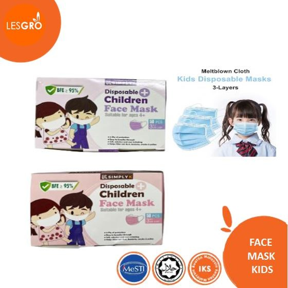 Face Mask Colour Kids (50pcs) - KRTB Mart - Lesgro