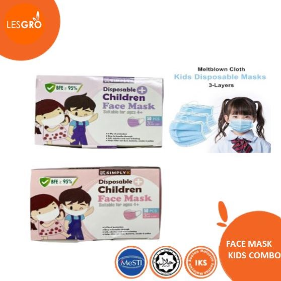 Face Mask Colour Kids Combo (50pcs) - KRTB Mart - Lesgro