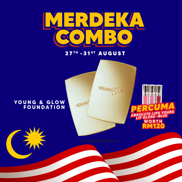 Foundation Merdeka Combo (Free Lip Gloss Blue) - Young & Glow