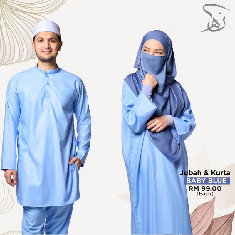 Set Couple Jubah & Kurta - Baby Blue