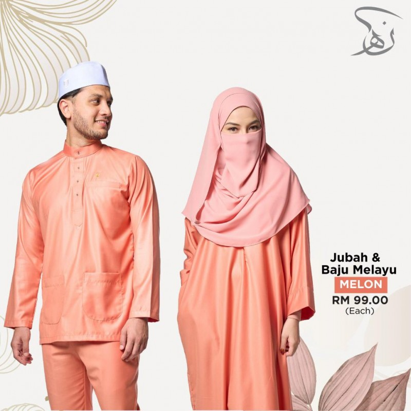 Set Couple Jubah & Baju Melayu - Melon