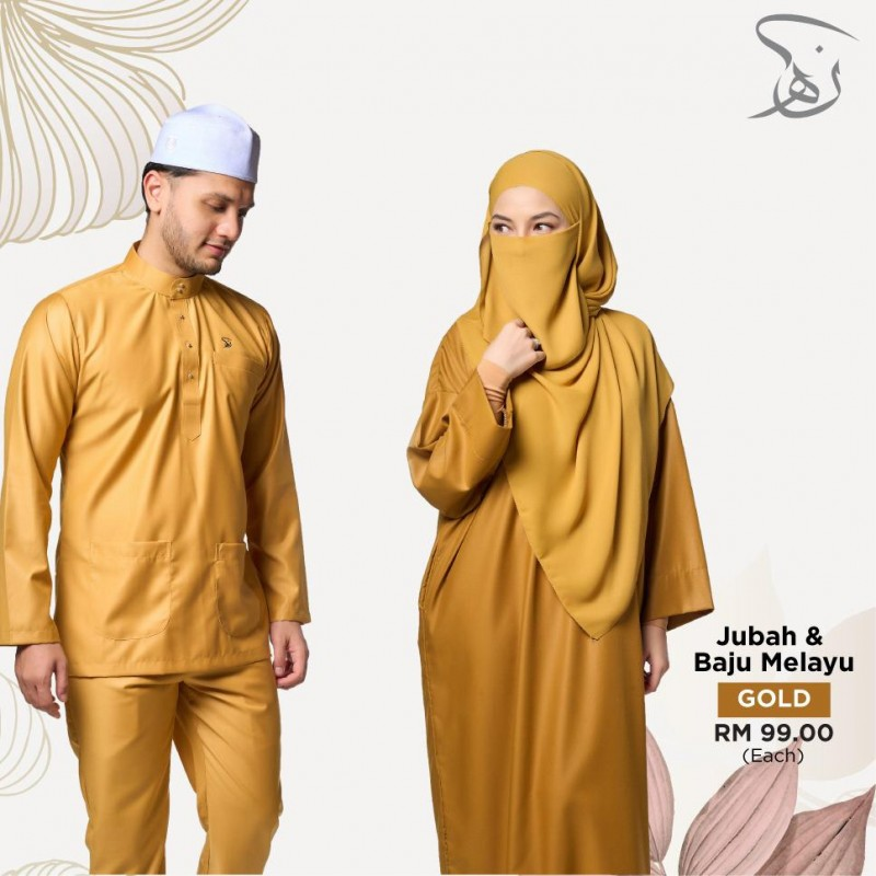 Set Couple Jubah & Baju Melayu - Gold