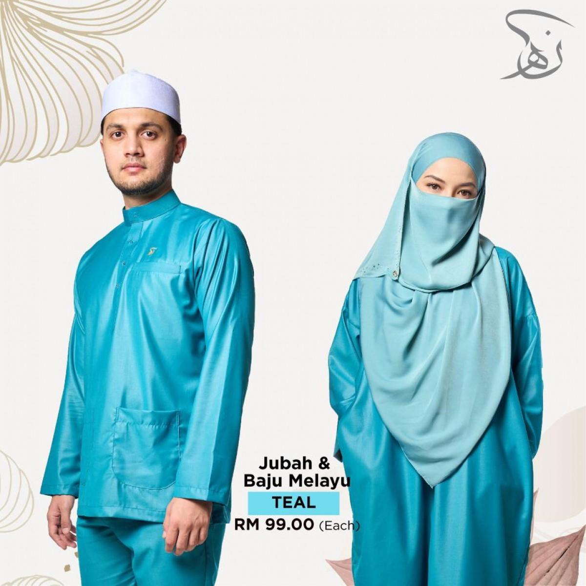 Set Couple Jubah & Baju Melayu - Teal - MARKAZ TIJAARI
