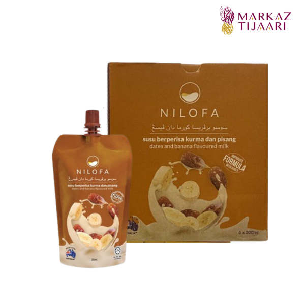 Nilofa Banana Dates Enhance Flavoured Milk - Set (6 Pouch) - MARKAZ TIJAARI