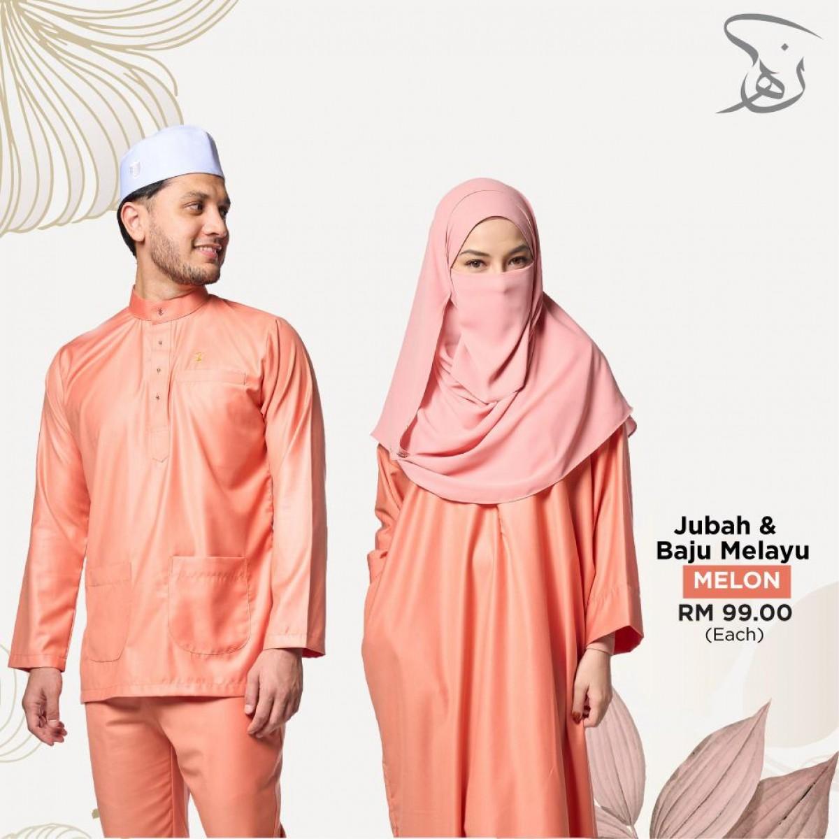 Set Couple Jubah & Baju Melayu - Melon - MARKAZ TIJAARI