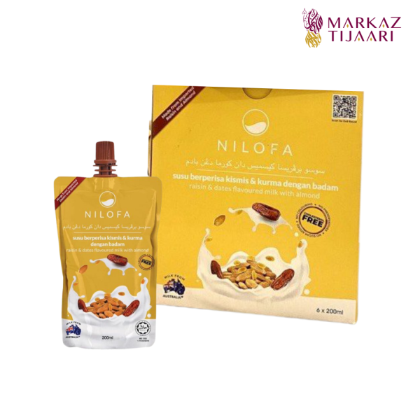 Nilofa Raisin & Dates Flavoured Milk with Almond - Set (6 Pouch) - MARKAZ TIJAARI