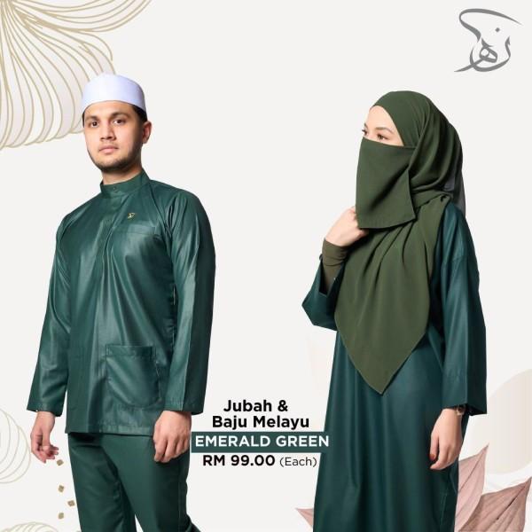 Set Baju Melayu Nun Ha - Emerald Green - MARKAZ TIJAARI