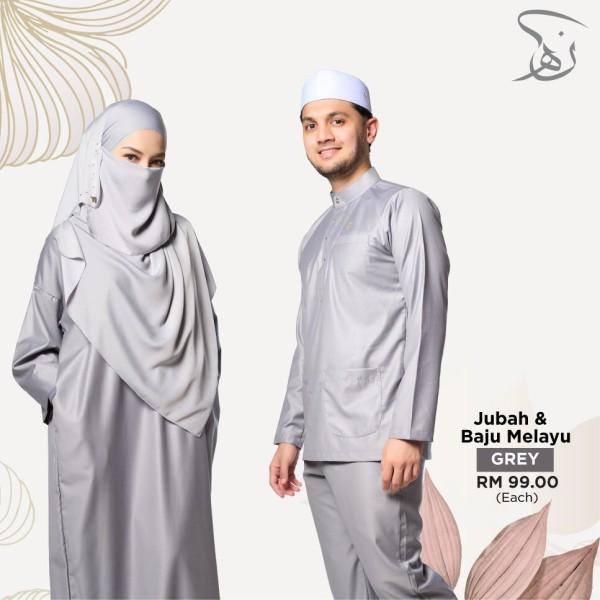 Set Baju Melayu Nun Ha - Grey - MARKAZ TIJAARI